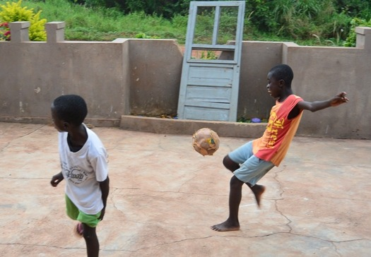 Kids playing football is something you often see when volunteering abroad