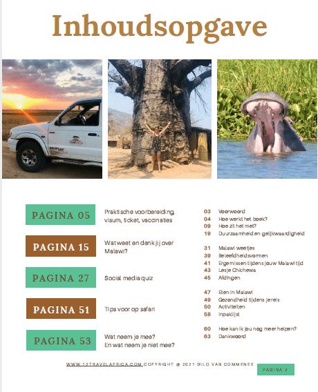 Inhoudsopgave reisgids Malawi, Afrika